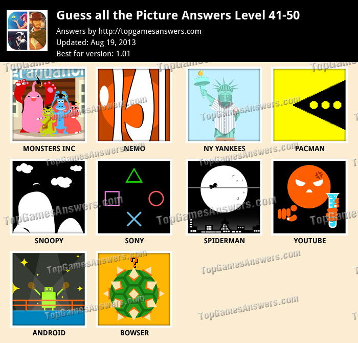 Guess all the Picture Level 41-50