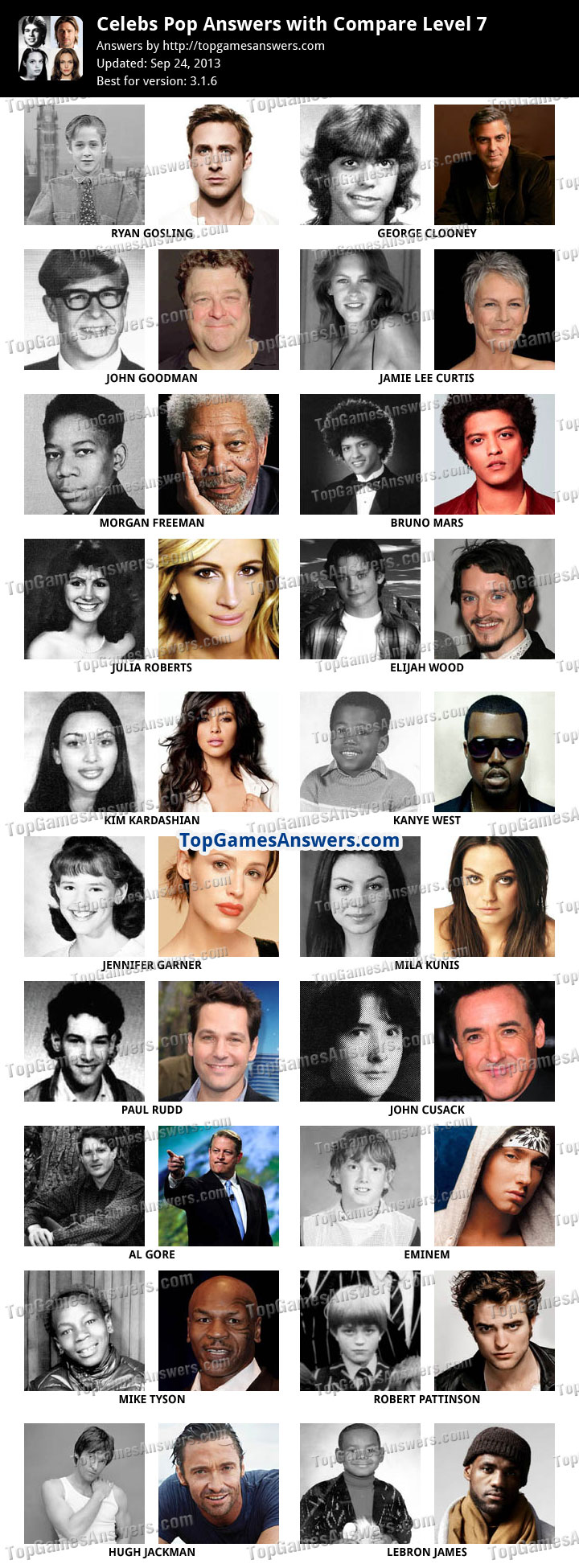 celebs pop answers level 7 answers for iphone ipad ipod and android