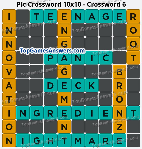 Pic Cross Answers 10x10 Crossword 6