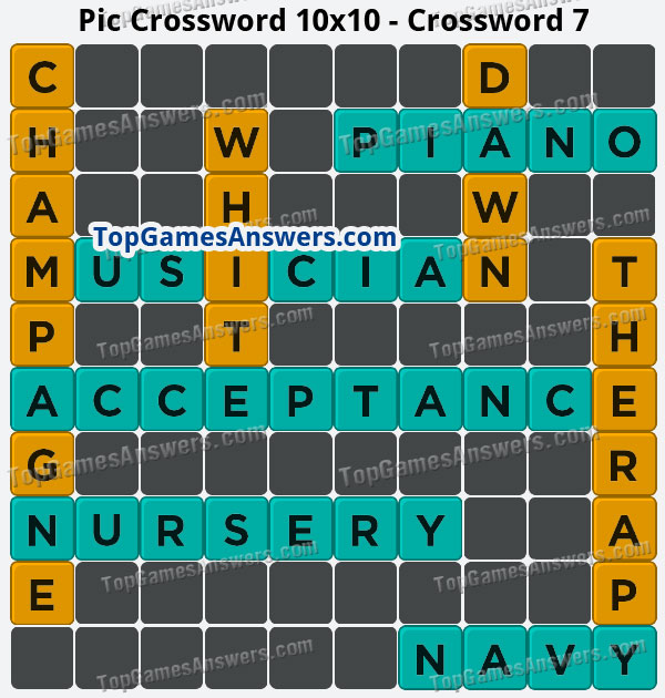 Pic Cross Answers 10x10 Crossword 7