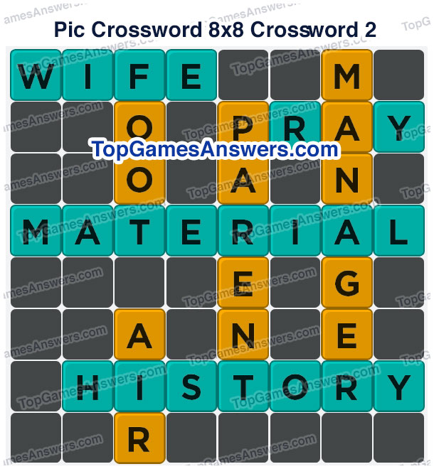 Pic Cross Answers 8x8 Crossword 3