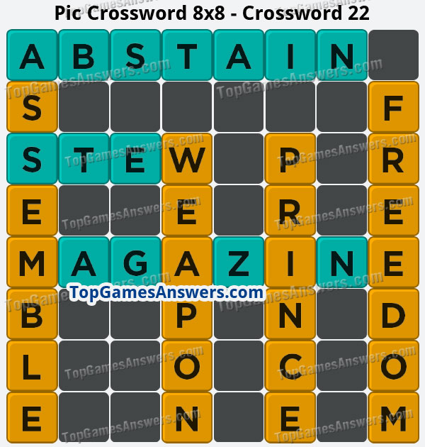 Pic Cross Answers 8x8 Crossword 22