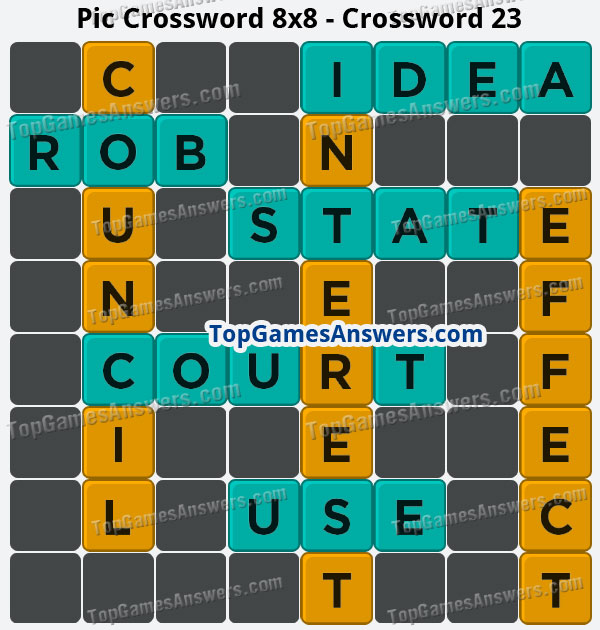 Pic Cross Answers 8x8 Crossword 23