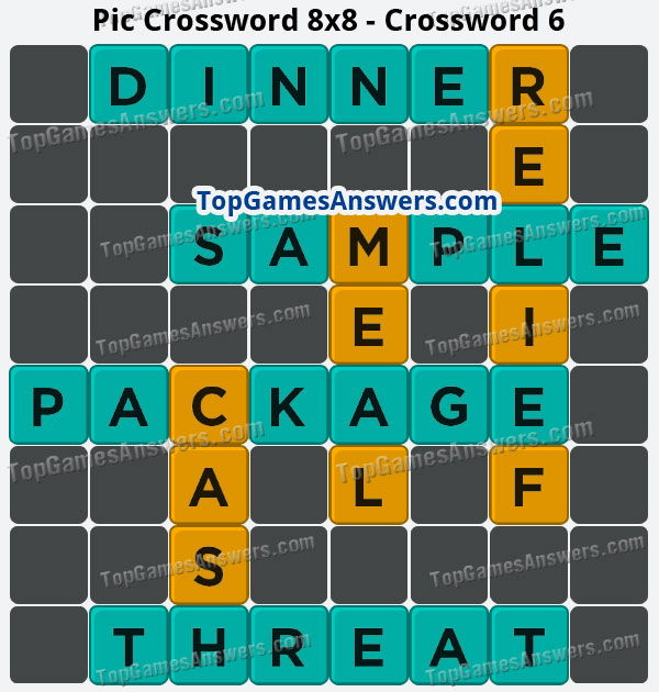 Pic Cross Answers 8x8 Crossword 6