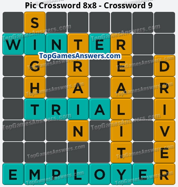 Pic Cross Answers 8x8 Crossword 9