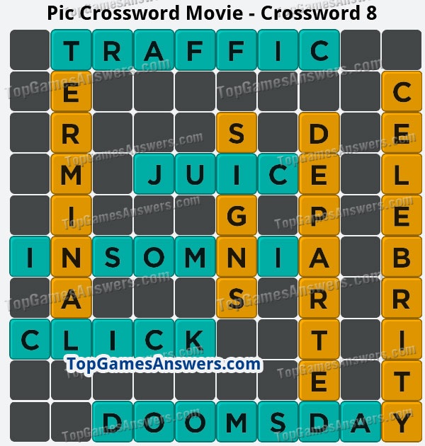 Pic Cross Answers Movie Crossword 8