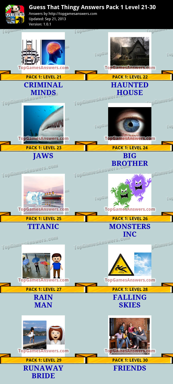Guess That Thingy Answers Pack 1 - Level 21-30